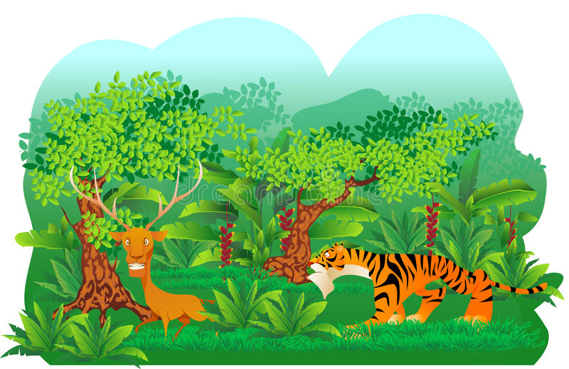 Tiger hunt a deer stock illustration