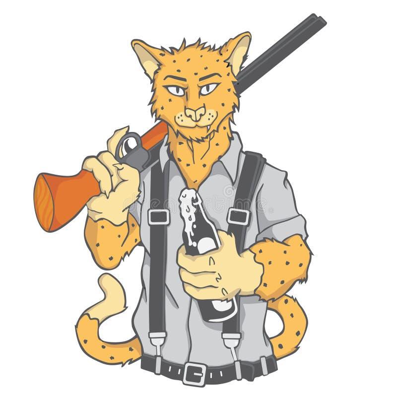 Tiger hunter and shoot gun royalty free stock image