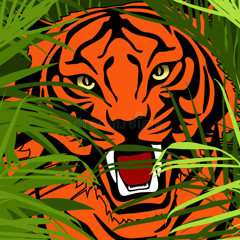 Tiger hunting in jungle vector illustration