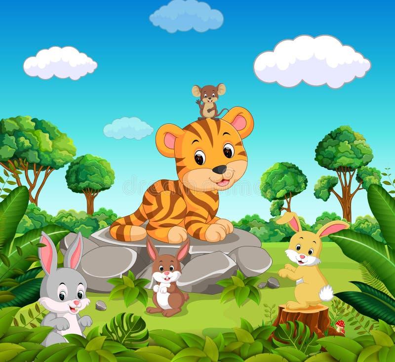 Tiger i skogen vektor illustrationer