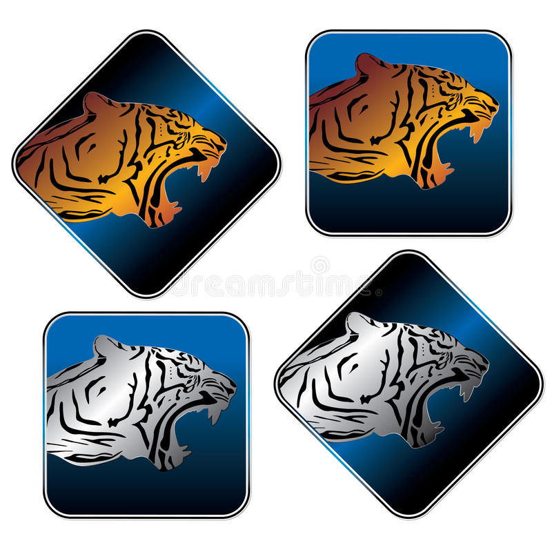 Download Tiger icon set stock vector. Image of style, emblem, predator - 25905748