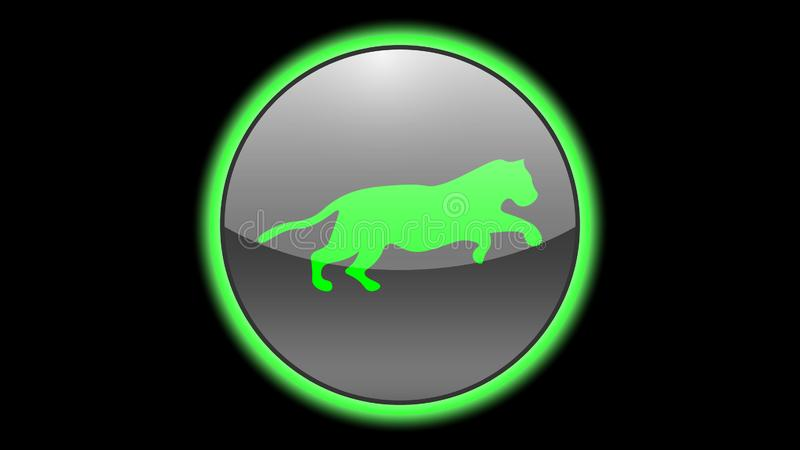 Tiger icon vector design. Green neon icons with animals. Animals icons vector royalty free illustration
