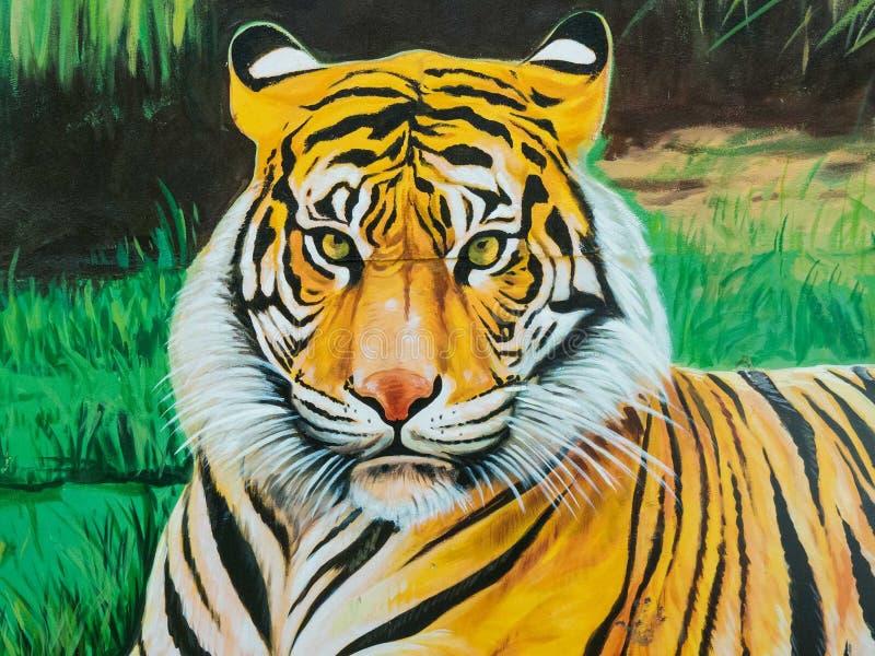 Tiger illustration on the wall. stock illustration