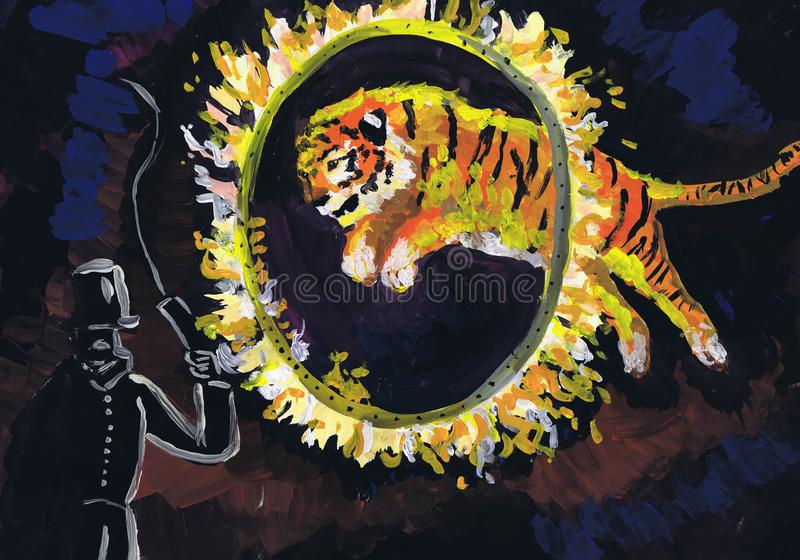The tiger jumps through a fiery ring. Representation in circus. Children`s drawing royalty free stock photo