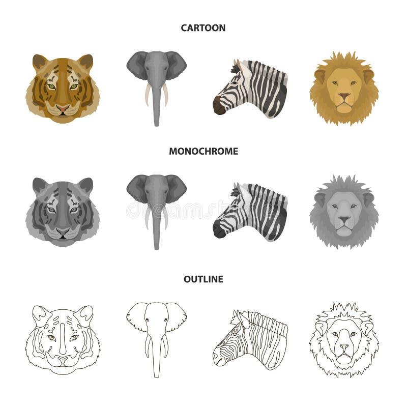 Tiger, Löwe, Elefant, Zebra, realistische Tiere stellte Sammlungsikonen in der Karikatur, Entwurf, einfarbiges Artvektorsymbol ei lizenzfreie abbildung