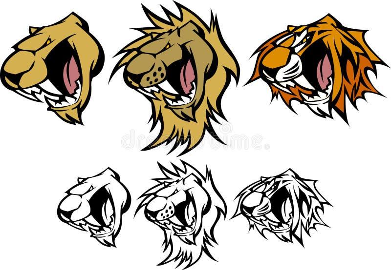 Tiger-Löwe-Puma-Maskottchen-vektorzeichen lizenzfreie abbildung