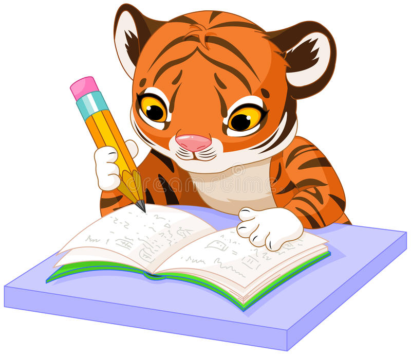 Tiger Learns stock illustrationer