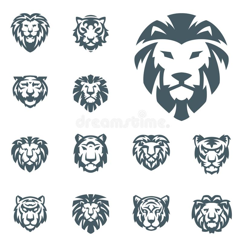Tiger and lions vector head face silhouette badge strength predator power wildcat illustration power animal. Ancient guard ornate relief sculpture. Strength royalty free illustration