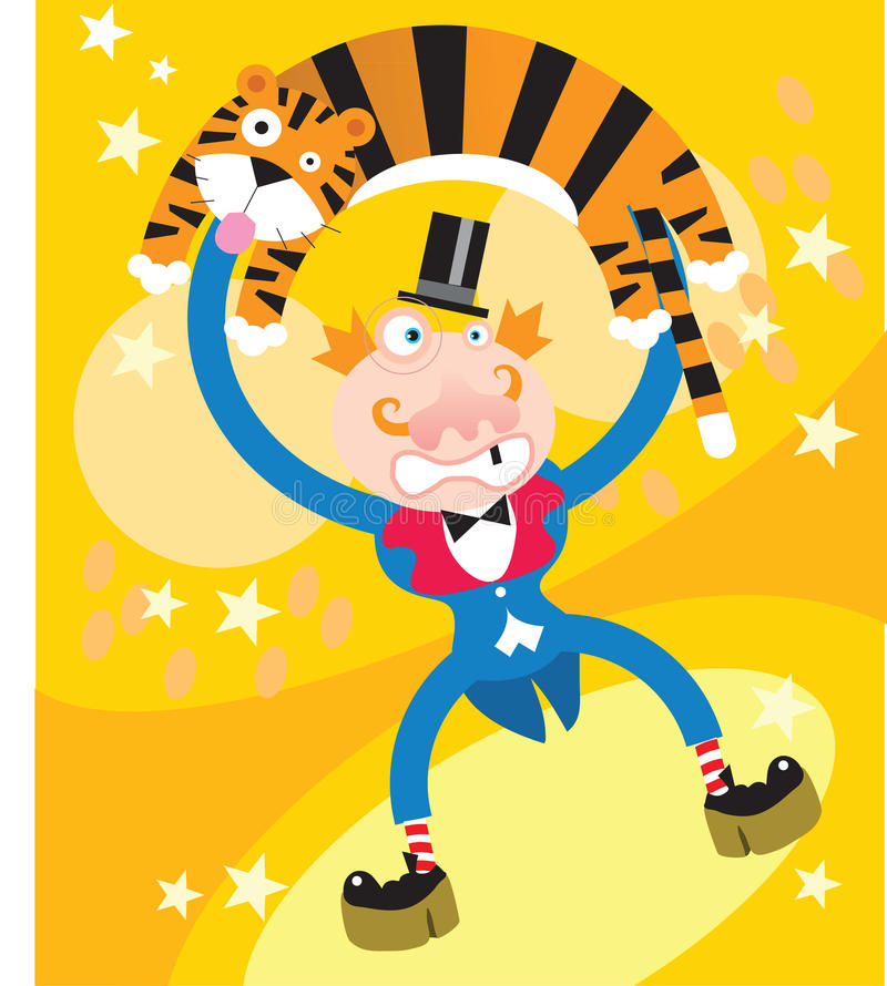 A tiger and a man in Circus stock illustration