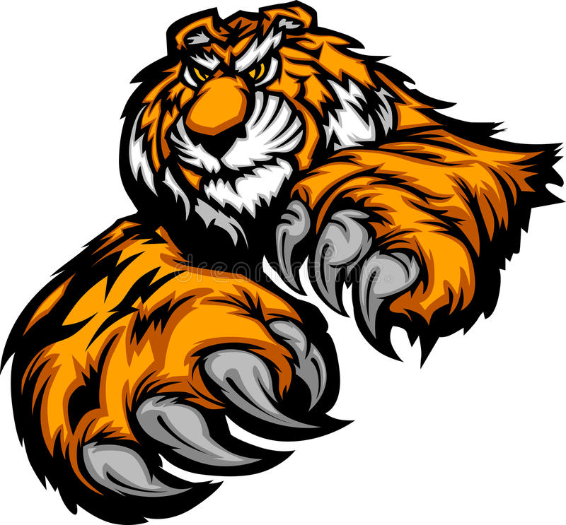 Tiger Mascot Body with Paws and Claws vector illustration