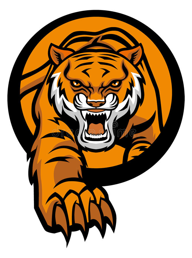 Tiger mascot come out from circle vector illustration