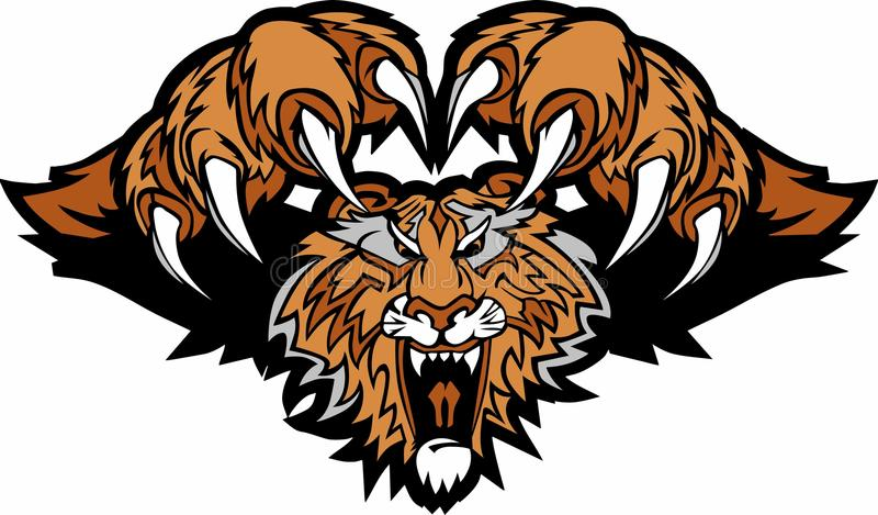 Tiger Mascot Pouncing Vector Logo royalty free illustration