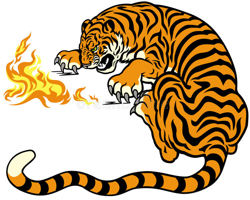 Tiger med brand stock illustrationer