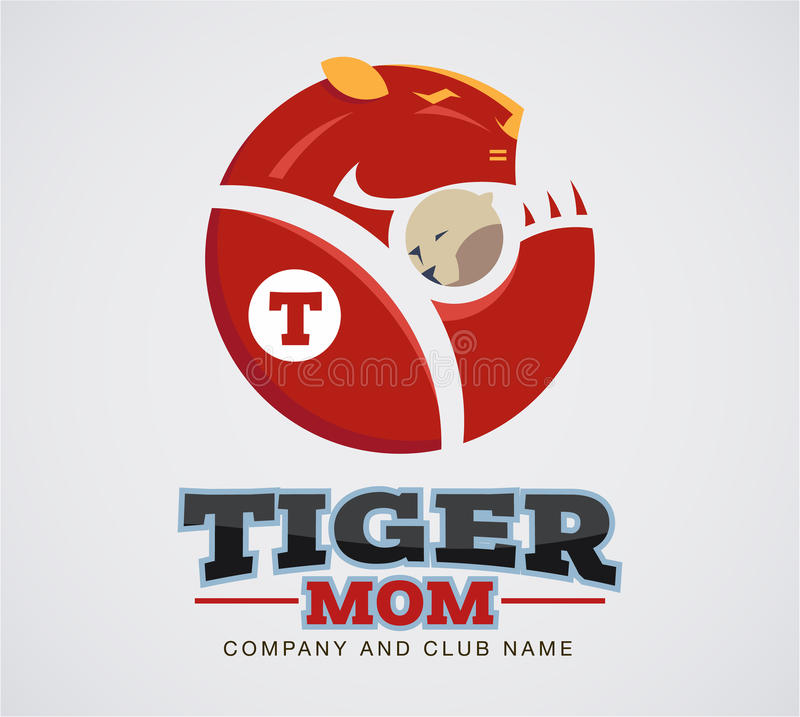 Tiger mom logo sport extreme and business. royalty free illustration