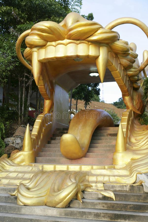 Tiger mouth as a stairway in the city park of Hat Yai City, Thailand. Symbolized Tiger mouth as stairway in the city park of Hat Yai City, Thailand, Southeast stock photo