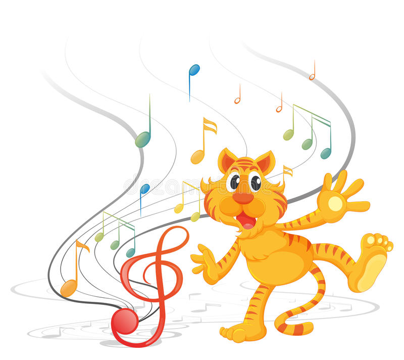 Download A tiger with musical notes stock illustration. Image of clip - 33203499