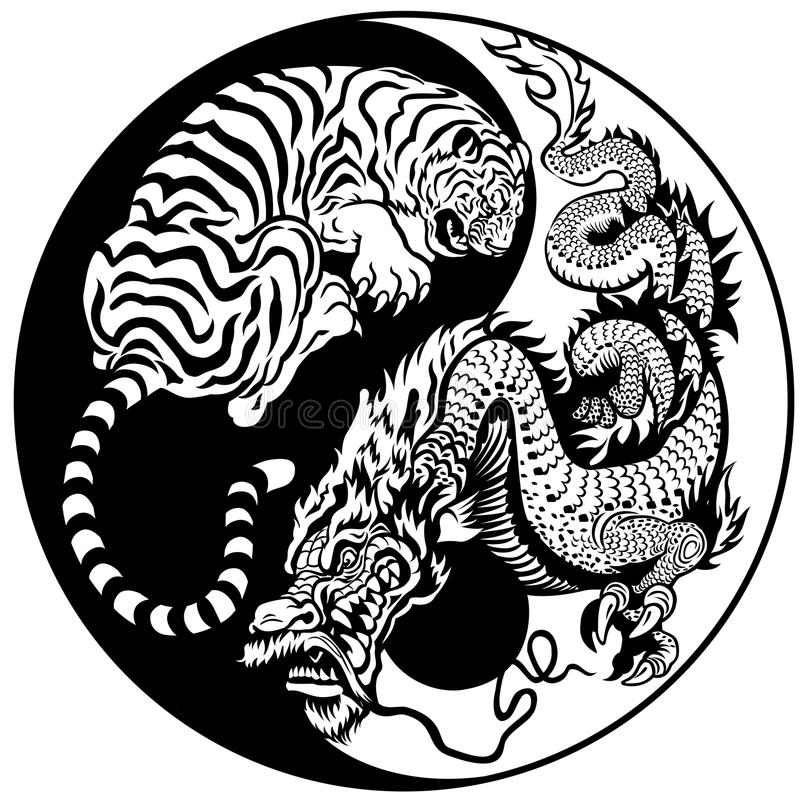 Tiger- och drakeyinyang symbol stock illustrationer