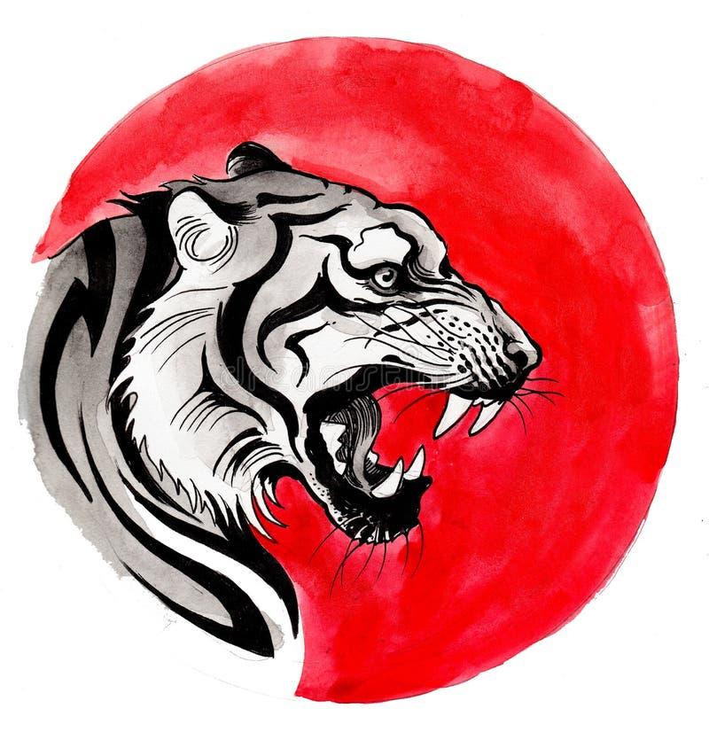 Tiger och sol royaltyfri illustrationer