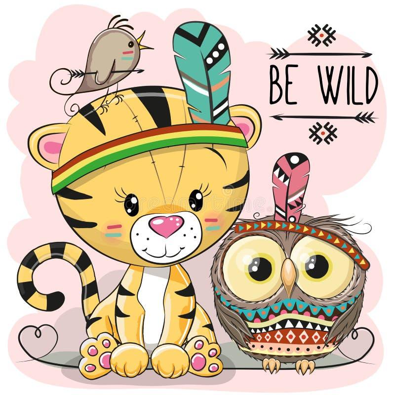 Tiger och uggla för gullig tecknad film stam- royaltyfri illustrationer