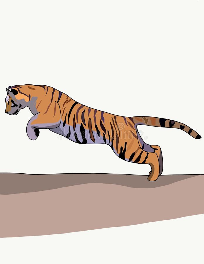 Tiger. The tiger is one of the most beautiful animals: it is the largest of the whole cat family, strong, graceful, with a bright striped skin. The tiger is a royalty free illustration