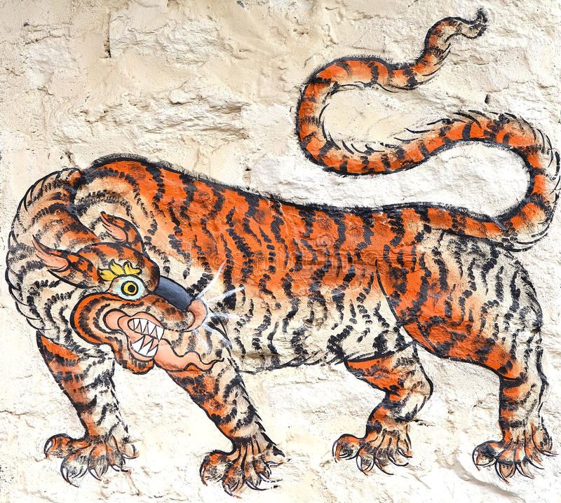 Tiger painting, Bhutan stock photo