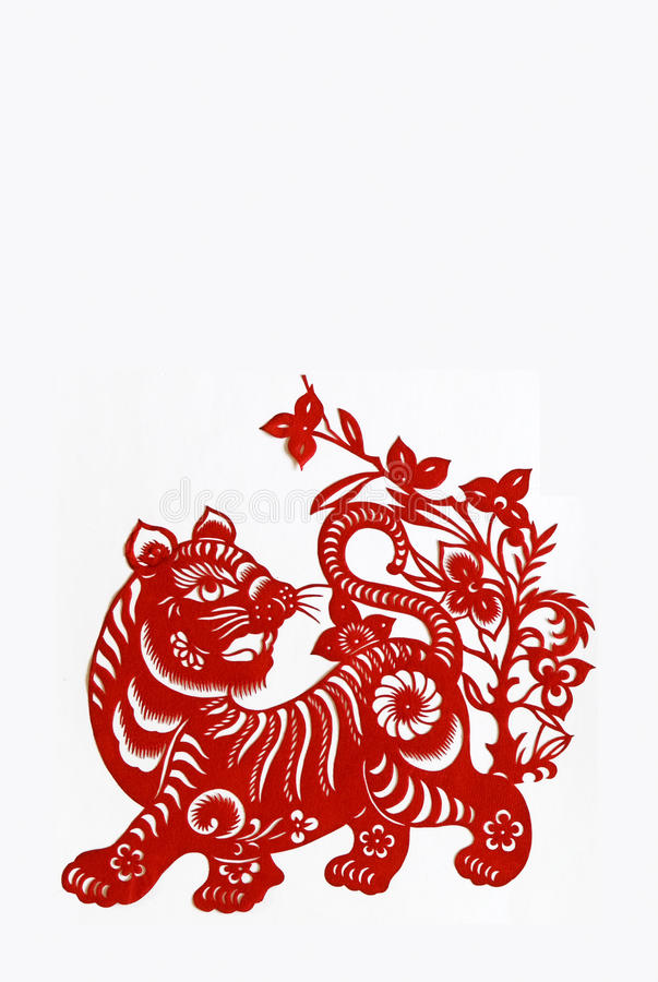 Tiger,paper cutting Chinese Zodiac. royalty free stock photo