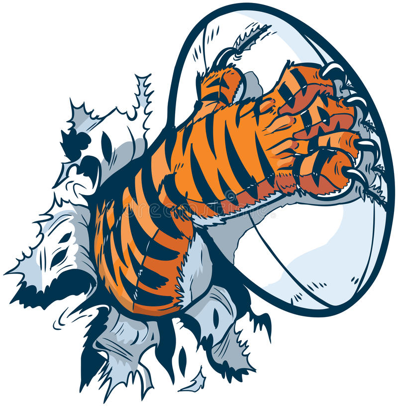 Tiger Paw Gripping Rugby Ball Ripping Out of Background. Vector cartoon clip art illustration of a tiger mascot paw ripping out of the background gripping a stock illustration