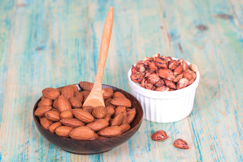 Tiger peanut and almonds in bowl stock photography