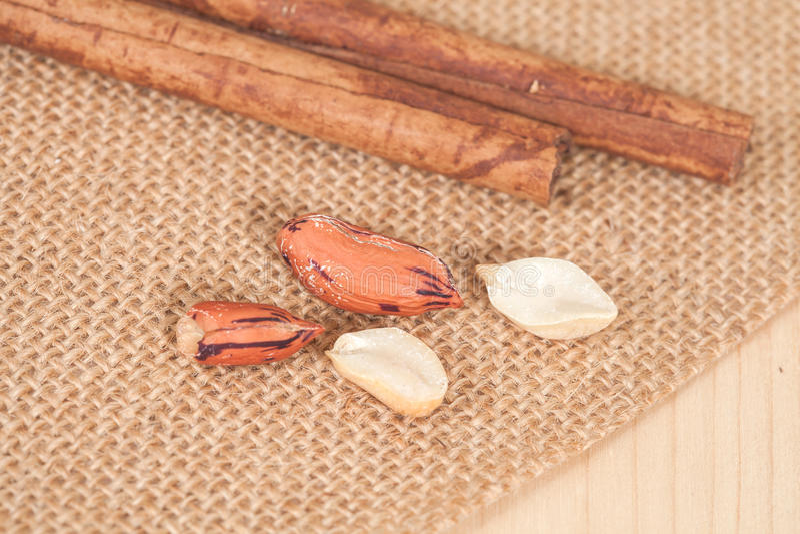 Tiger peanut on table stock photo