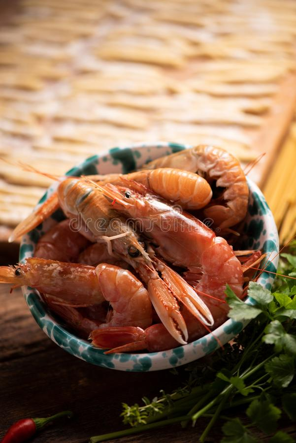 Tiger Prawns crudo fresco fotografia stock