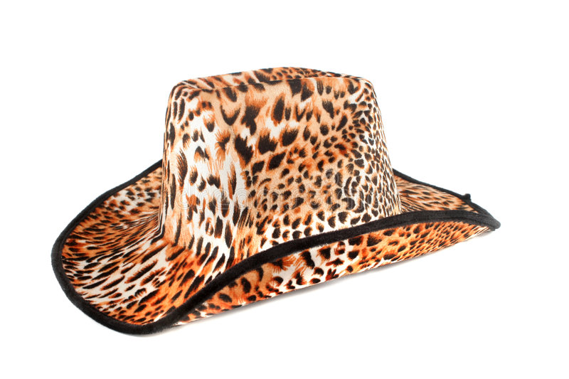 Tiger print hat. Fashion leopard print hat on white background royalty free stock photo