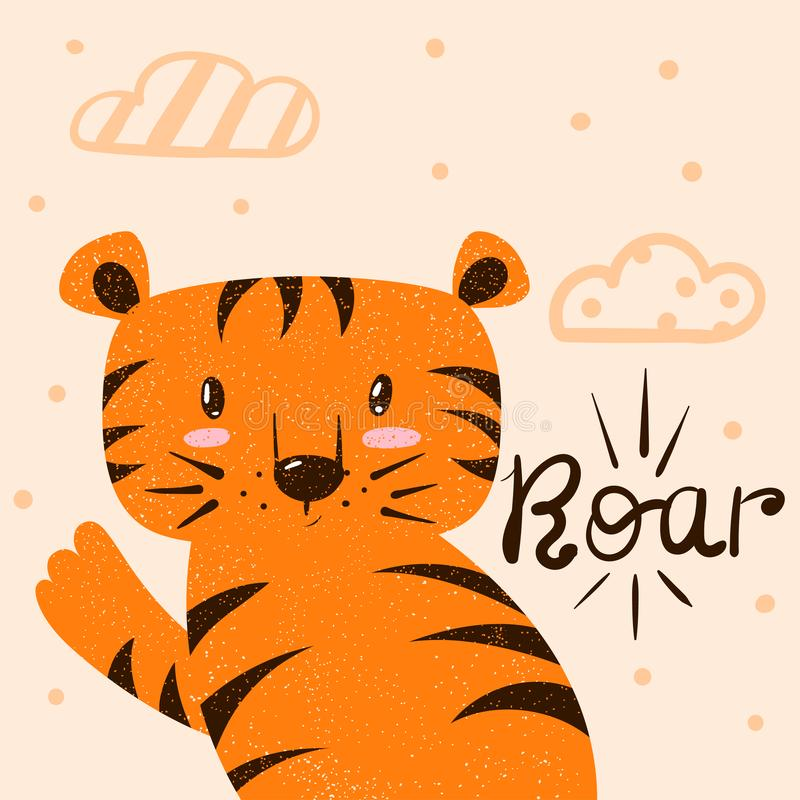 Tiger, roar illustration. Cartoon hand draw monster character for print t-shirt. stock illustration