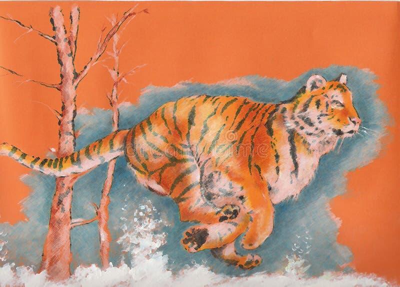 Download Tiger running stock illustration. Image of winter, hunt - 11154767
