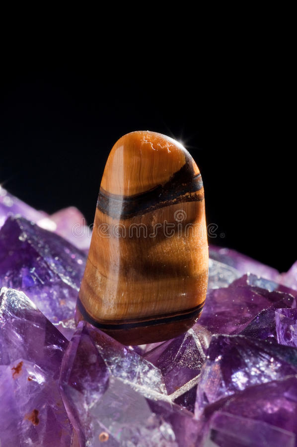 Tiger's Eye And Amethyst Stock Photo