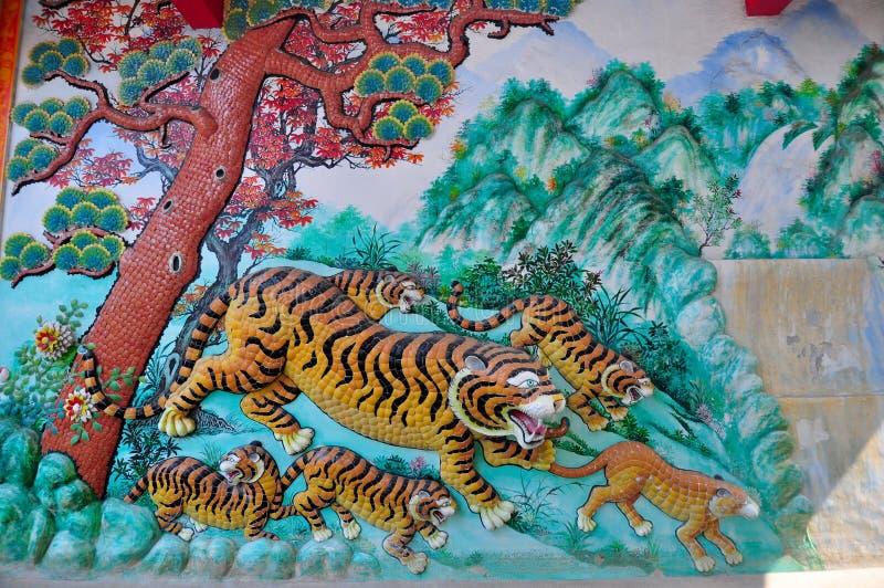 Tiger Sculptures no templo chinês em Thailan fotografia de stock royalty free
