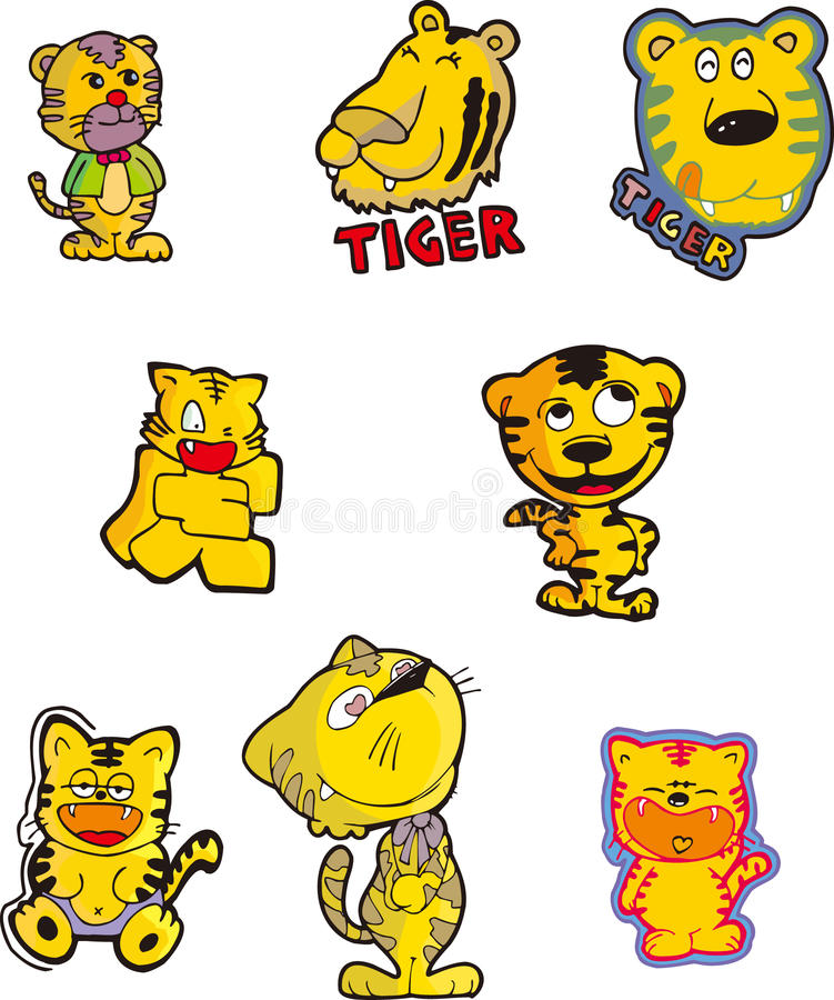 Tiger Set One Royalty Free Stock Image