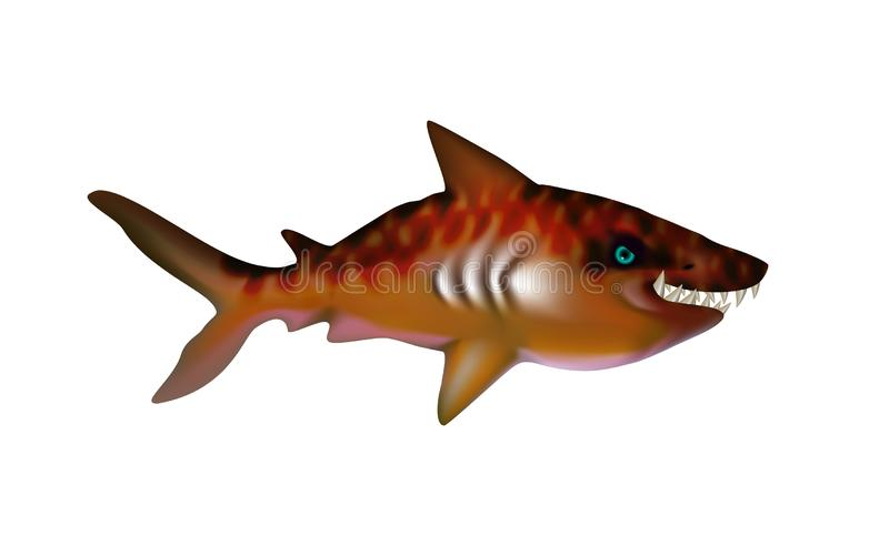 Tiger Shark with big teeth. Cartoon funny isolated character. Ocean and Sea for design, web, ui, advertising food sea. Vector stock illustration