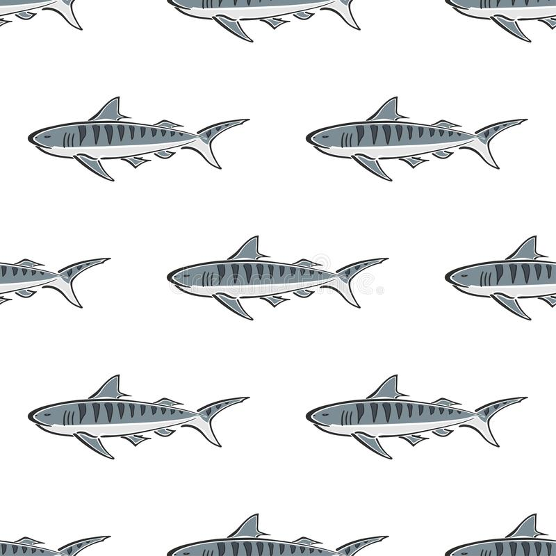 Tiger shark character abstract hand drawn vector seamless pattern. Simplified color illustration. Ocean blue. Sea animal vector illustration