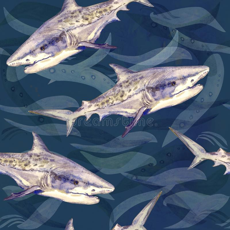 Tiger shark, hand painted watercolor illustration, seamless pattern on dark blue ocean surface with waves. Background royalty free illustration