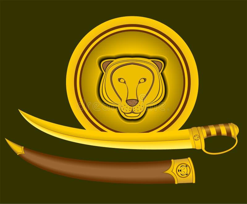 Tiger Shield och svärd. vektor illustrationer