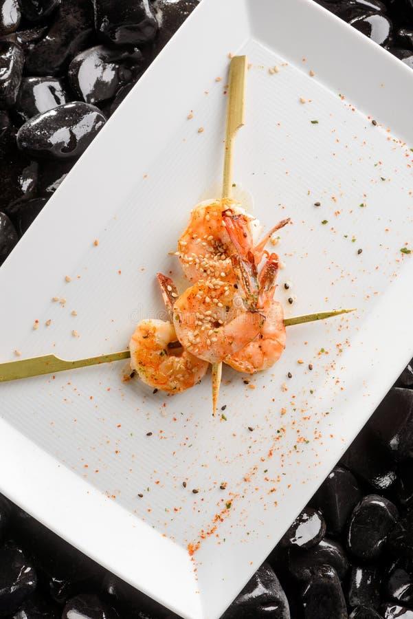Tiger shrimp barbecue royalty free stock photos