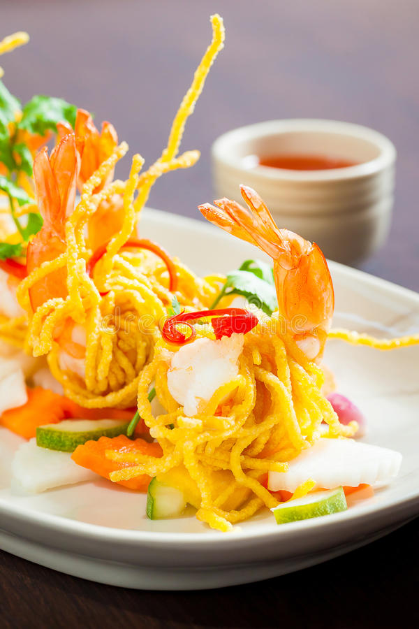 Tiger shrimp on dish. royalty free stock image