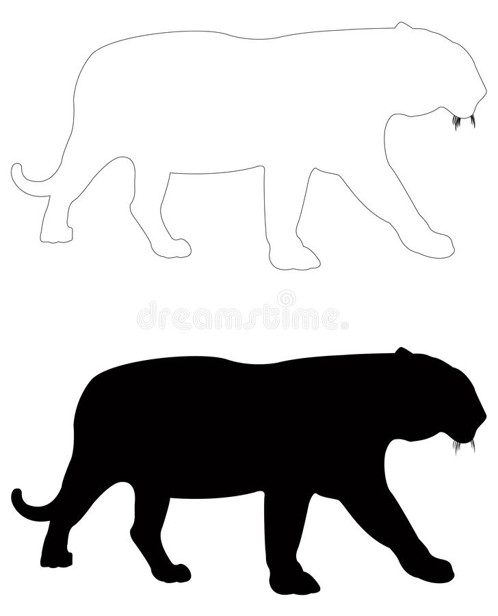 Tiger silhouette - largest cat species. Vector file of tiger silhouette - largest cat species royalty free illustration