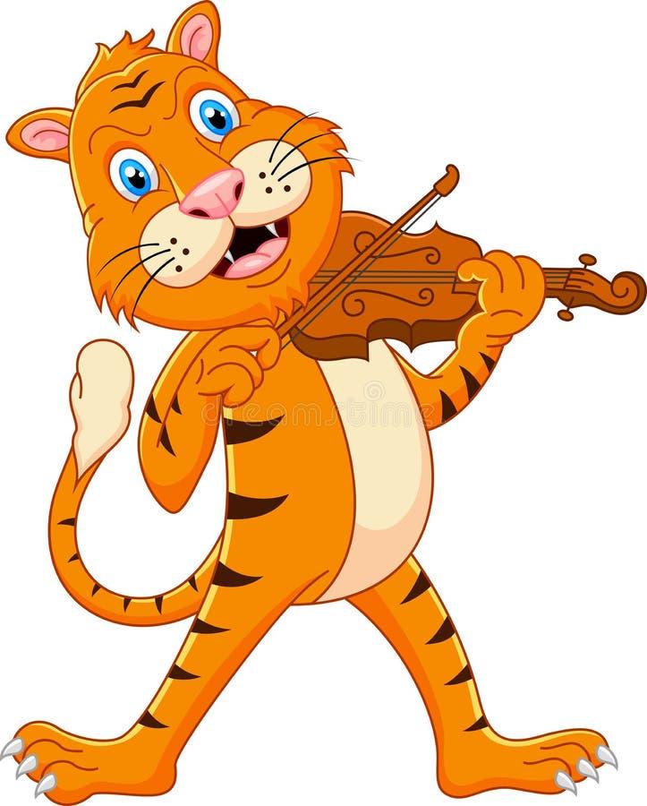 Tiger som spelar hans fiol royaltyfri illustrationer