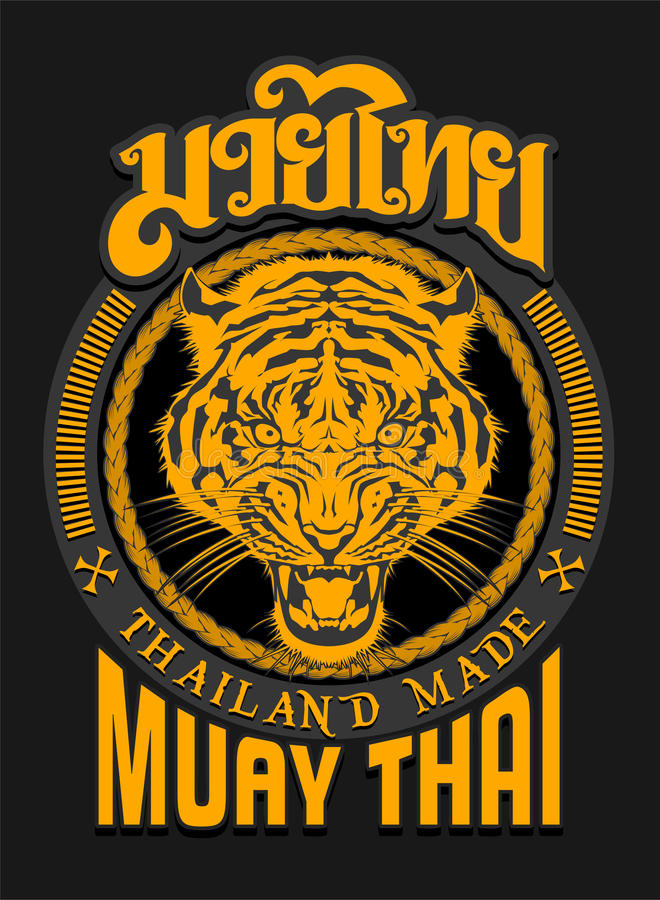 TIGER SPIRIT MUAY THAI. The Tiger are an animal that has related with many culture as a symbols, totem, or as spirit guard. In Muay-thai, Tiger always have vector illustration