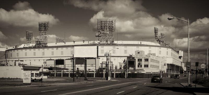 Tiger Stadium Demolition idoso no tom do sepia fotografia de stock