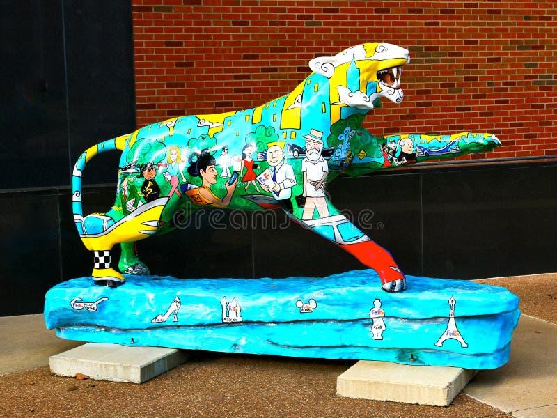 Tiger Statue peint à la main orienté asiatique, Memphis Tennessee images libres de droits