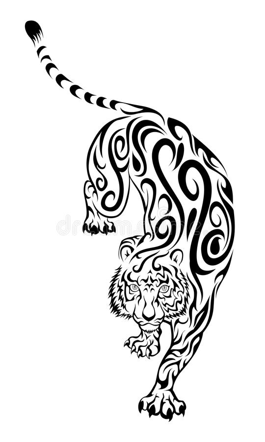Download Tiger Tattoo stock vector. Image of whisker, black, wildcat - 13965878