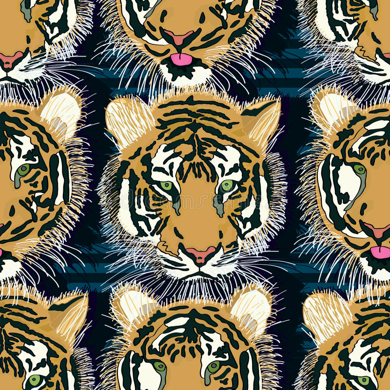 Tiger tongue out seamless pattern royalty free illustration