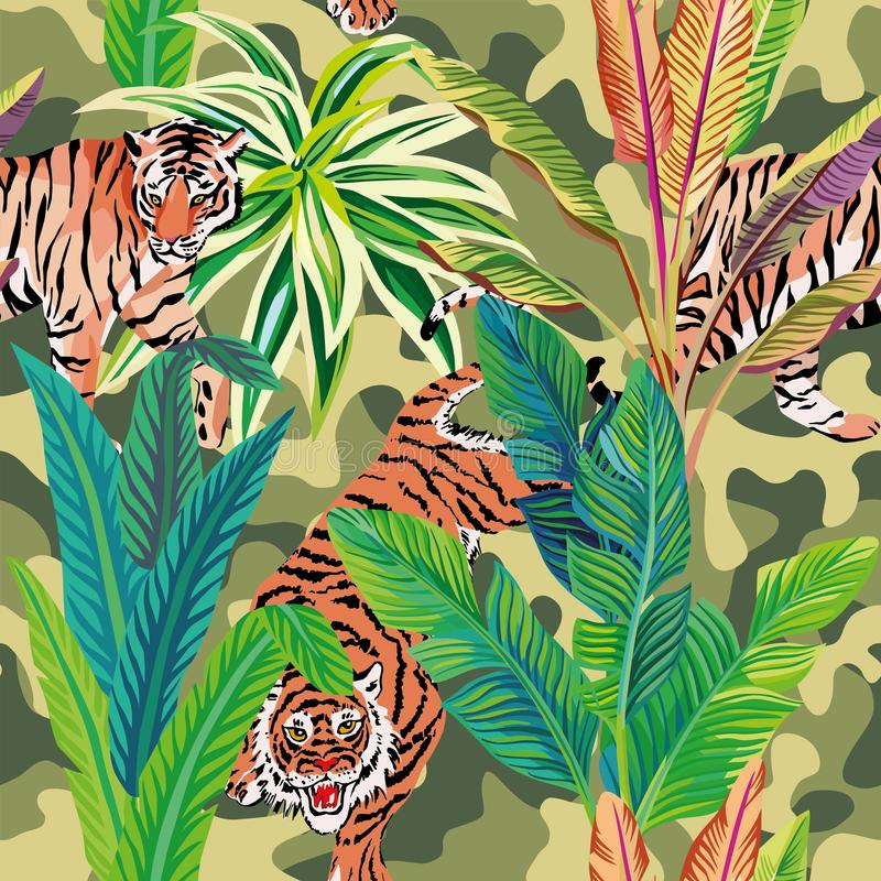 Tiger in the tropical jungle brown military background vector illustration